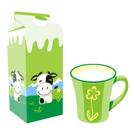 carton de leche: aislados caja de cart�n de leche y taza