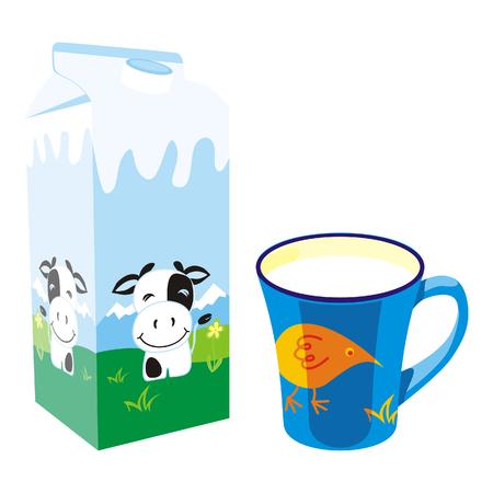 isolated milk carton box and mug Illustration
