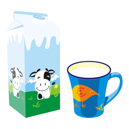 isolated milk carton box and mug Illustration