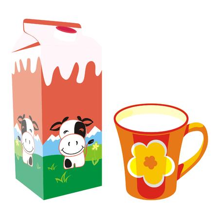 aislados caja de cartón de leche y taza