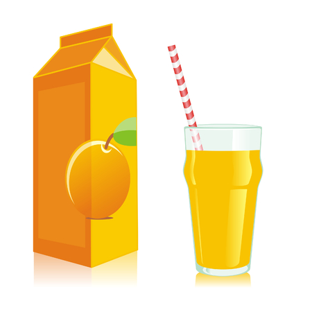 isolated juice box and glass Vector