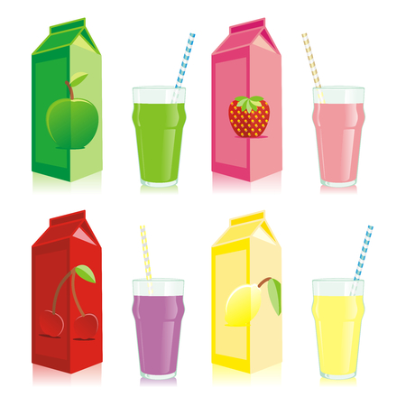 isolated juice boxes and glasses Vector