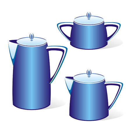 isolated blue kettles Stock Vector - 4426242