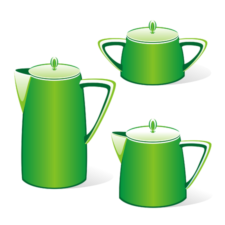 isolated green kettles Stock Vector - 4426233