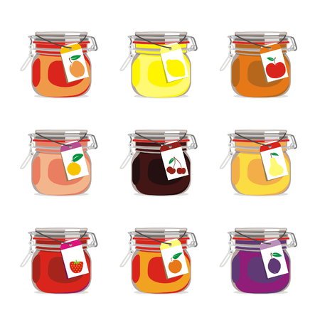 jam: isolated jam jar with fruits