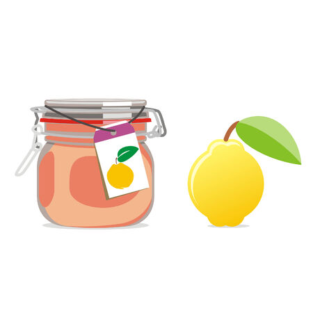 quince: isolated quince jam jar and fruit
