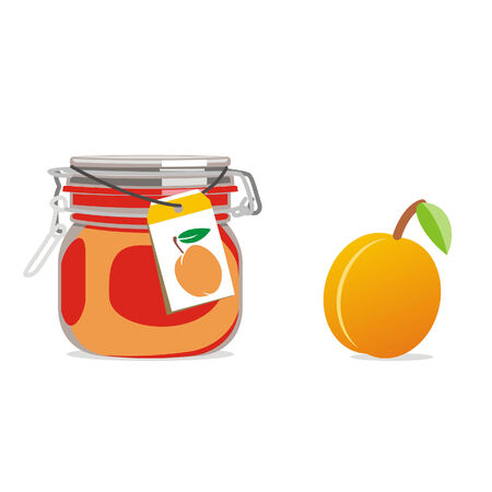 isolated apricot jam jar and fruit Stock Vector - 4459012