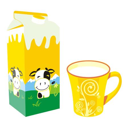 carton de leche: aislados caja de cartón de leche y taza
