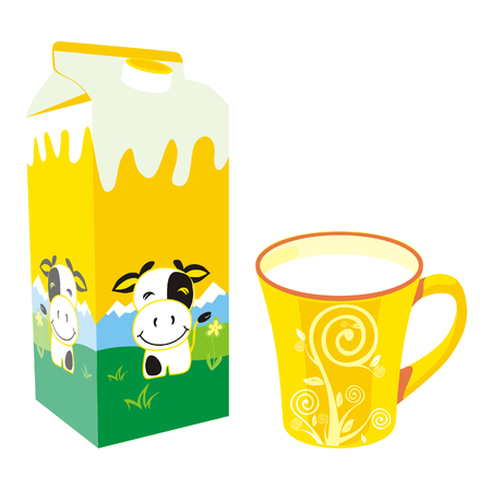 cartons: isolated milk carton box and mug Illustration
