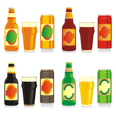 beer can: isolated different beer bottles, cans and glasses
