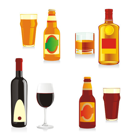 isolated alcohol bottles and glasses