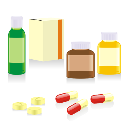 painkillers: isolated painkillers bottles, boxes and pills Illustration