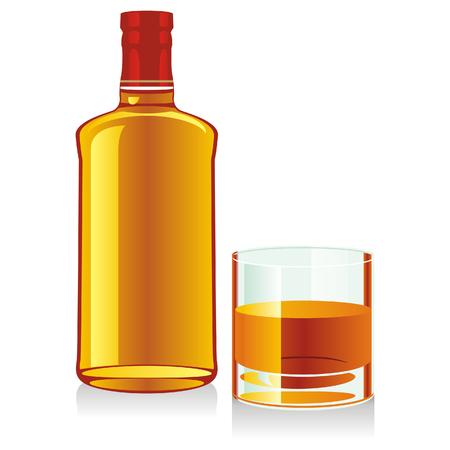 whiskey: geïsoleerd glas en de fles whiskey Stock Illustratie
