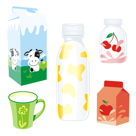 isolated dairy products Vector