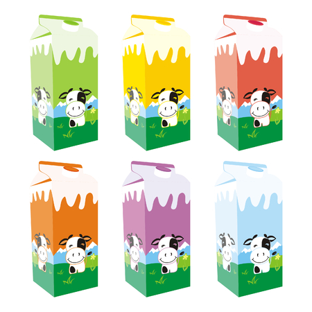 carton: isolated milk carton boxes