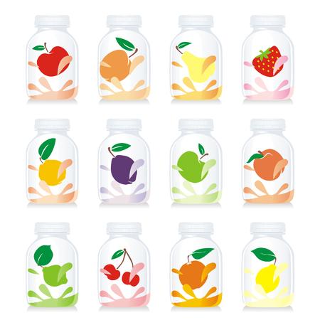 isolated fruit yogurt glass bottles Illustration