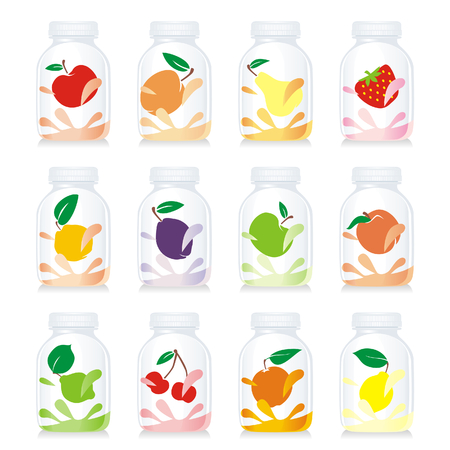 isolated fruit yogurt glass bottles Vector