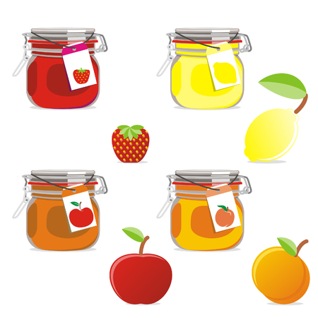 isolated jam jar with fruits