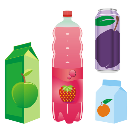 cartons:  isolated fruit juice recipients Illustration