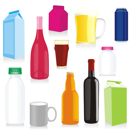 carbonated: isolated drink containers Illustration