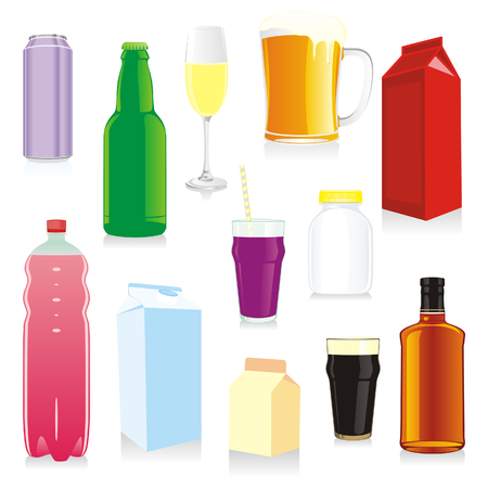 isolated drink containers Vector