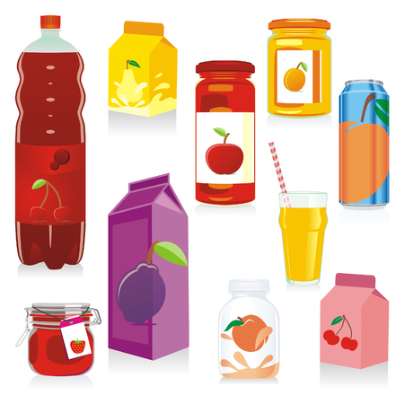 carbonated beverage: isolated fruit containers Illustration