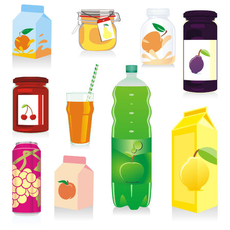 carbonated: isolated fruit containers Illustration