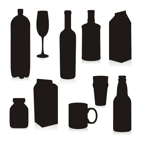Isolated Silhouettes Drink Containers Vector