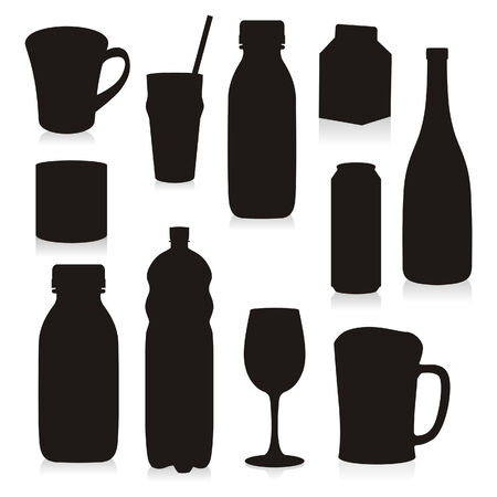 alcohol bottles: Isolated Silhouettes Drink Containers