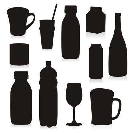 Siluetas de bebidas Contenedores aislados