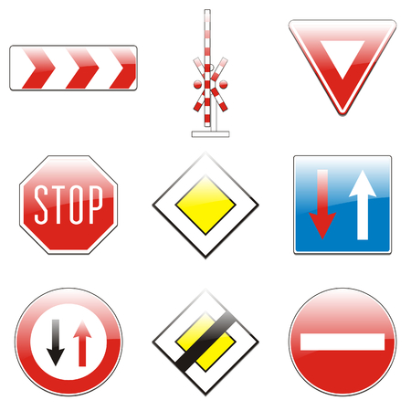 isolated european road signs Vector