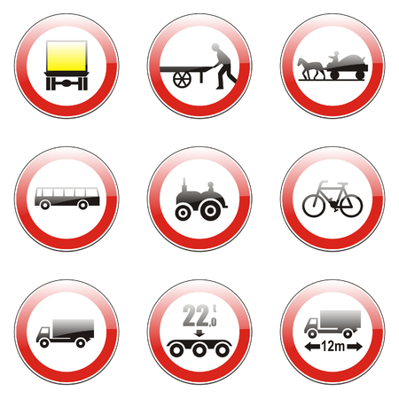 no overtaking: isolated european road signs