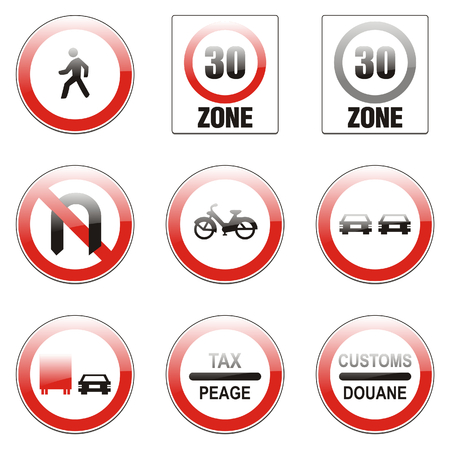 turn sign: isolated european road signs