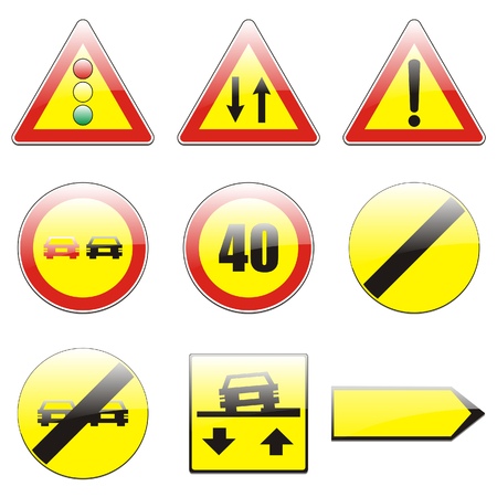 overtake:  isolated european road signs