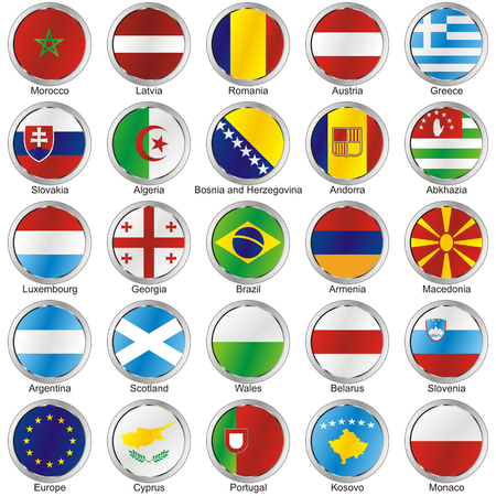 isolated international flags Vector