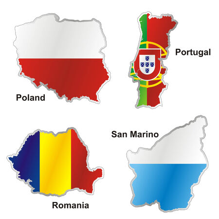 poland flag: isolated international flag in map shape Illustration