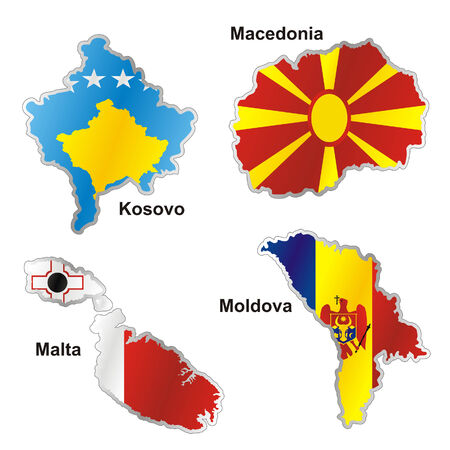 malta: geïsoleerde internationale vlag in kaart vorm