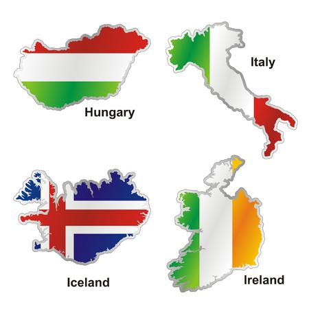 isolated international flag in map shape Illustration