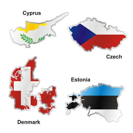 czech republic flag: isolated international flag in map shape Illustration