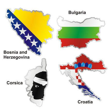 croatia flag: isolated international flag in map shape Illustration