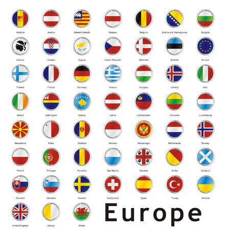 isolated european flags Illustration