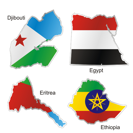 isolated african flags in map shape Stock Vector - 4858108