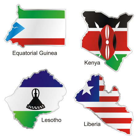 isolated african flags in map shape Vector