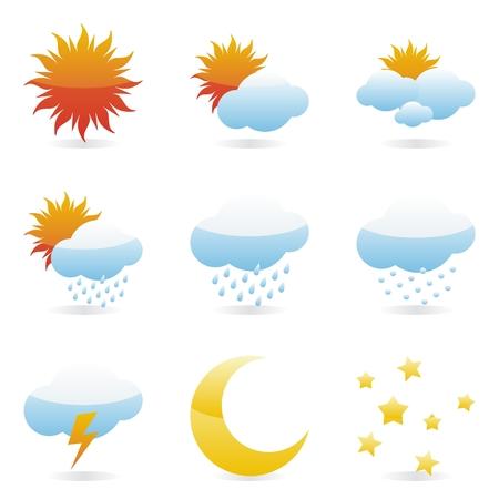 sonne mond und sterne: isoliert Wetter Symbole
