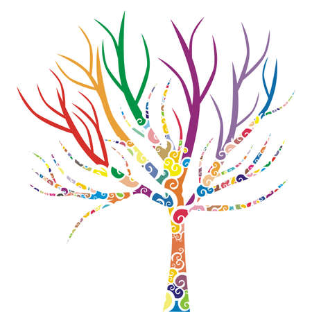 vector illustration of a tree with colored patterns Stock Vector - 4890283