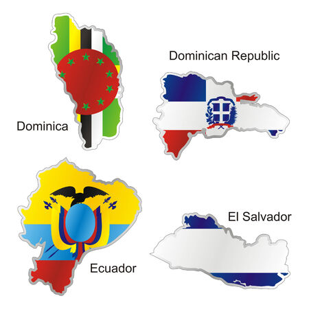 republic of ecuador: isolated american flags in map shape
