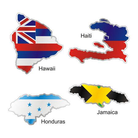 bandera de honduras: banderas de Estados Unidos aislado en el mapa de forma