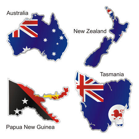 isolated oceanian flags in map shape Vector