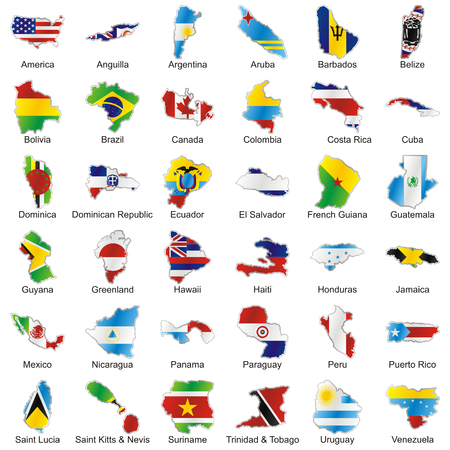 isolated vector american flags in map shape Vector
