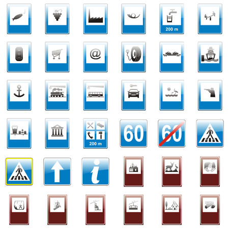 vector isolated european road signs Vector